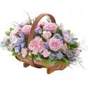 Čistá ružová gratulačná kytica  v košíku